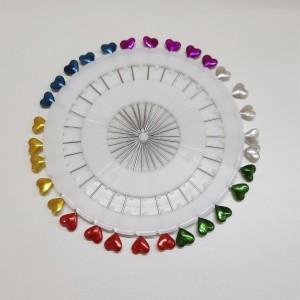 Alfinetes Coloridos Cabeça Coração 3 unidades